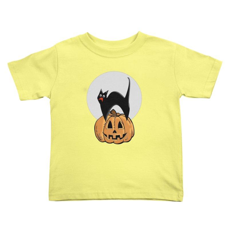 Halloween cat Kids Toddler T-Shirt by Sporkshirts's tshirt gamer movie and design shop.