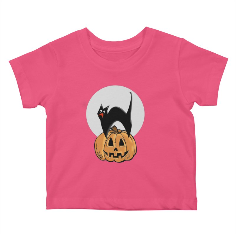 Halloween cat Kids Baby T-Shirt by Make a statement, laugh, enjoy.