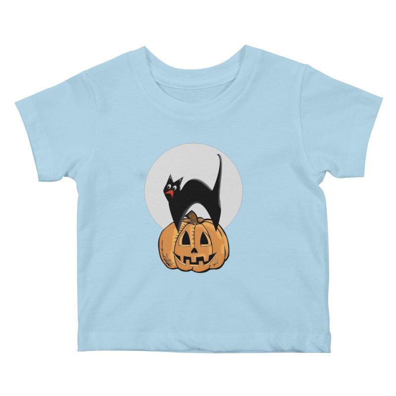 Halloween cat Kids Baby T-Shirt by Sporkshirts's tshirt gamer movie and design shop.