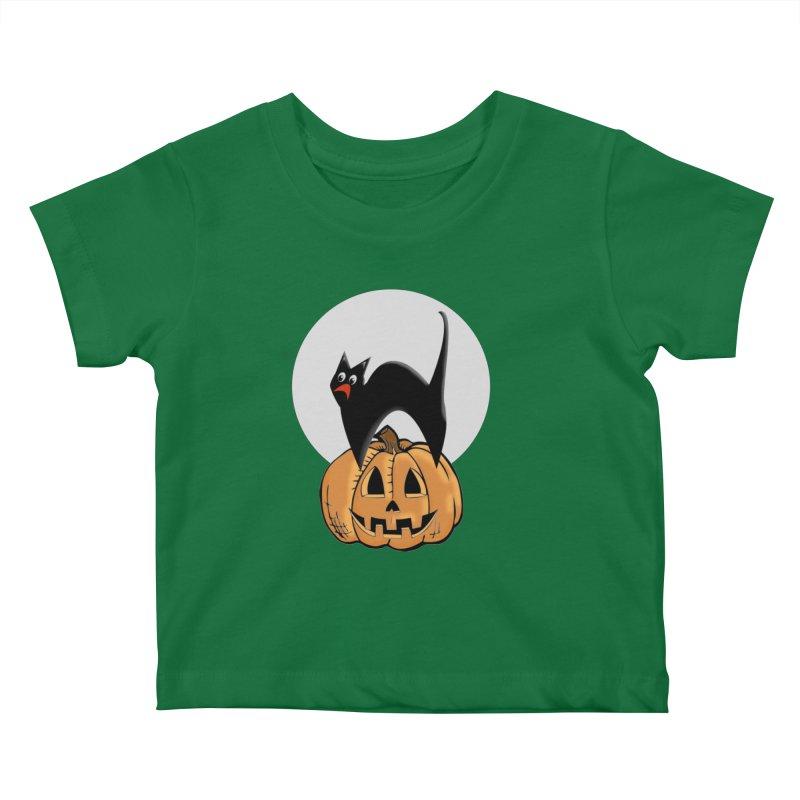 Halloween cat Kids Baby T-Shirt by Make a statement, laugh, enjoy.