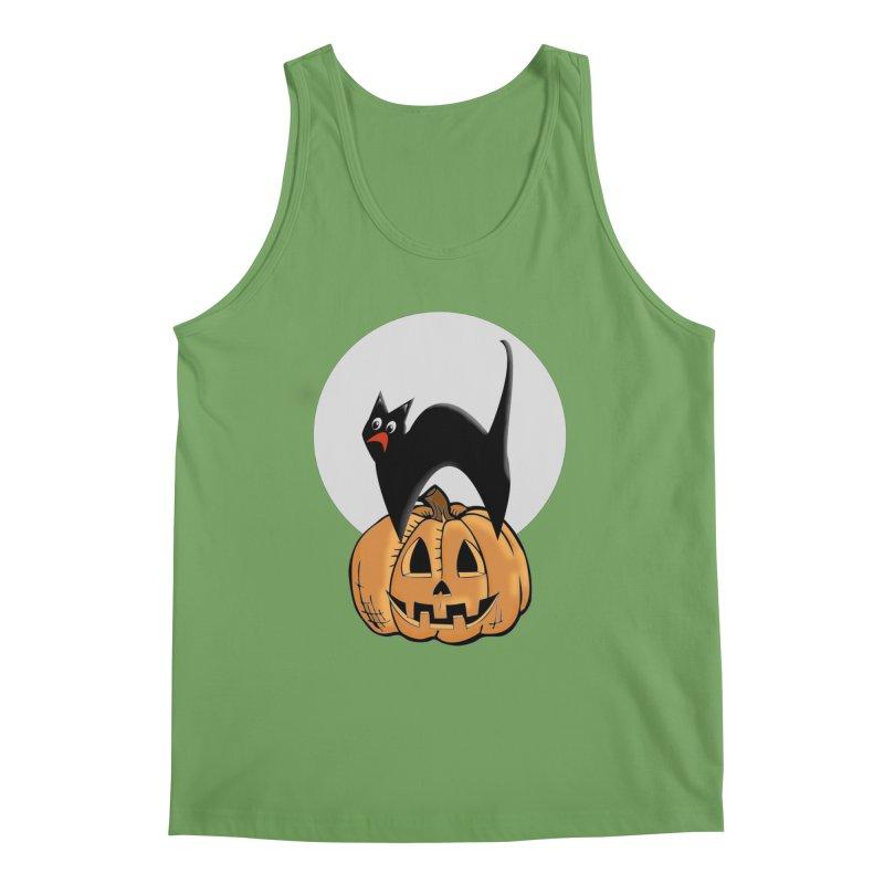 Halloween cat Men's Tank by Make a statement, laugh, enjoy.