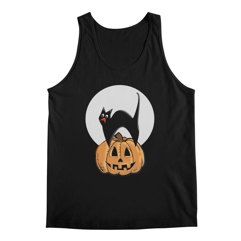 Halloween cat Men's Regular Tank by Make a statement, laugh, enjoy.