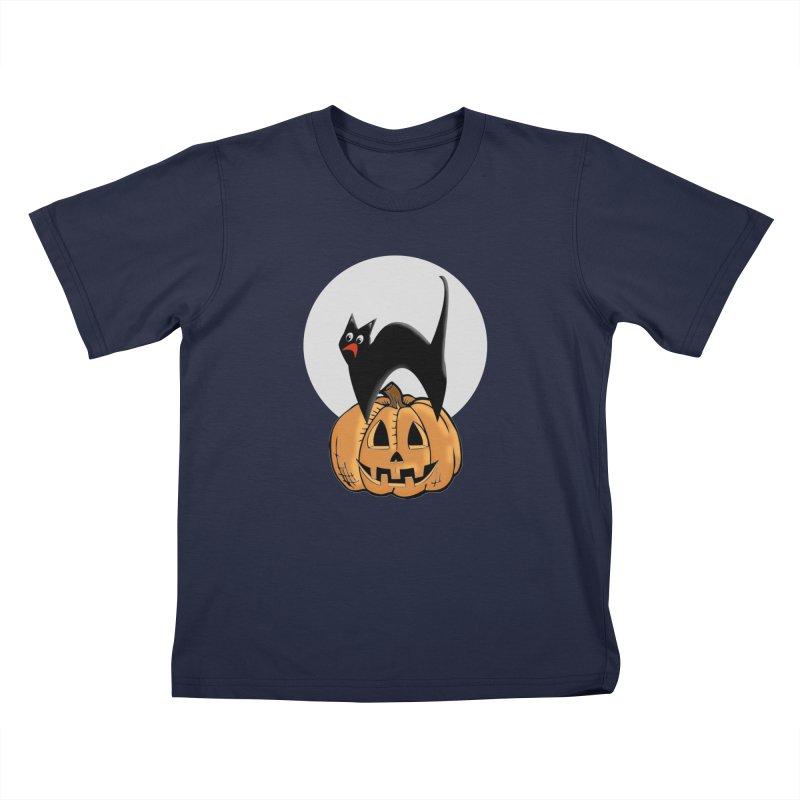 Halloween cat in Kids T-Shirt Navy by Sporkshirts's tshirt gamer movie and design shop.