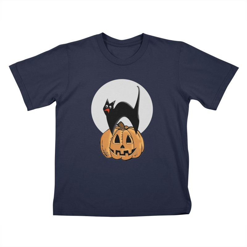 Halloween cat Kids T-Shirt by Make a statement, laugh, enjoy.