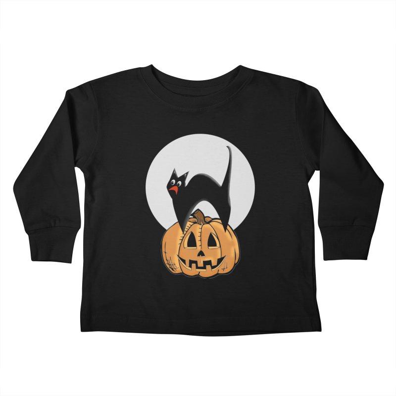 Halloween cat Kids Toddler Longsleeve T-Shirt by Make a statement, laugh, enjoy.