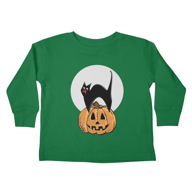 Halloween cat Kids Toddler Longsleeve T-Shirt by Make a statement, laugh, enjoy.