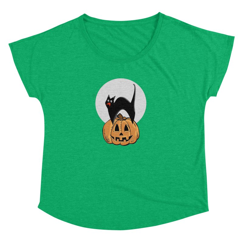 Halloween cat Women's Dolman Scoop Neck by Make a statement, laugh, enjoy.