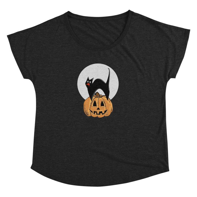 Halloween cat Women's Dolman Scoop Neck by Sporkshirts's tshirt gamer movie and design shop.