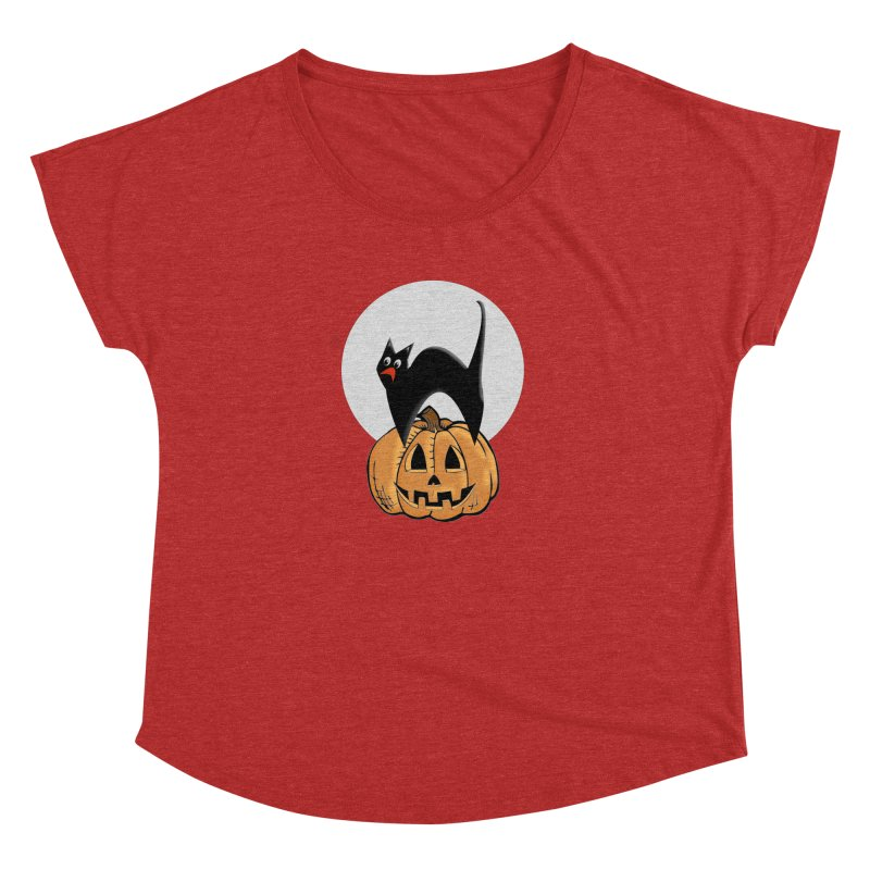 Halloween cat Women's Dolman Scoop Neck by Make a statement, laugh, enjoy.