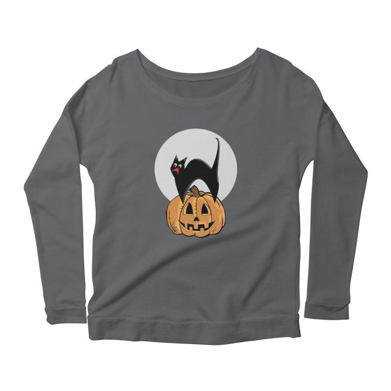 Halloween cat Women's Scoop Neck Longsleeve T-Shirt by Make a statement, laugh, enjoy.