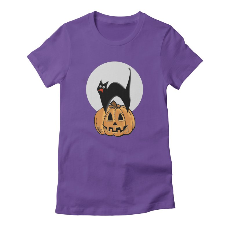 Halloween cat Women's Fitted T-Shirt by Sporkshirts's tshirt gamer movie and design shop.
