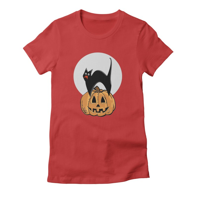 Halloween cat Women's Fitted T-Shirt by Make a statement, laugh, enjoy.