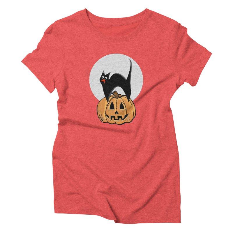 Halloween cat Women's Triblend T-Shirt by Make a statement, laugh, enjoy.