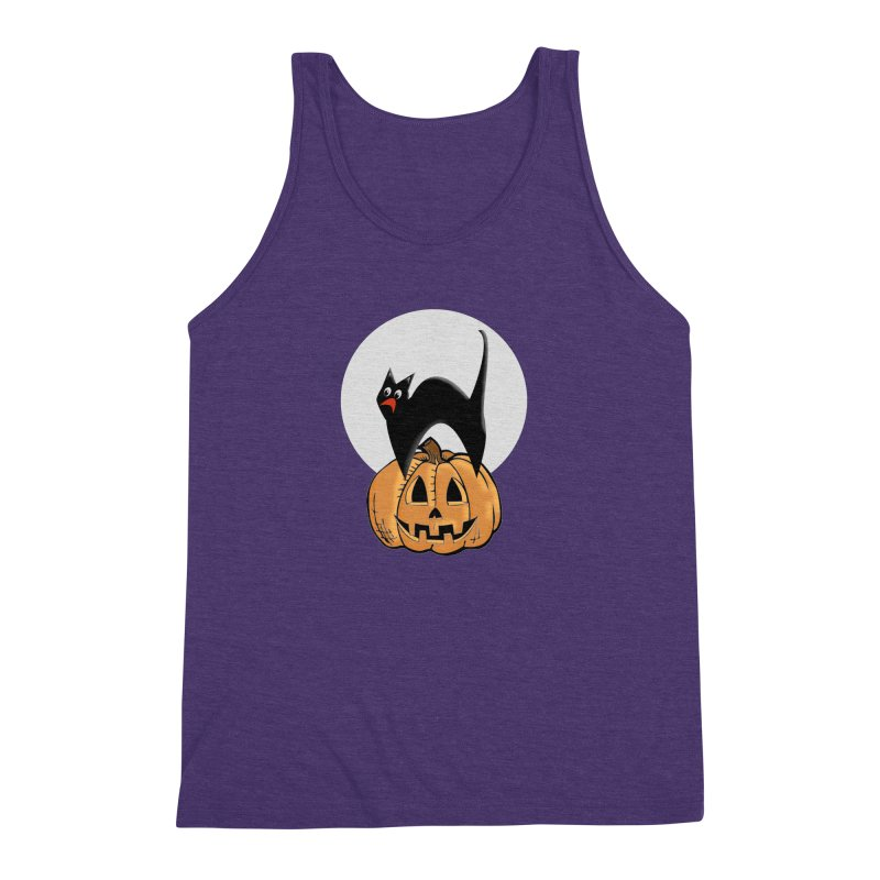Halloween cat Men's Triblend Tank by Make a statement, laugh, enjoy.
