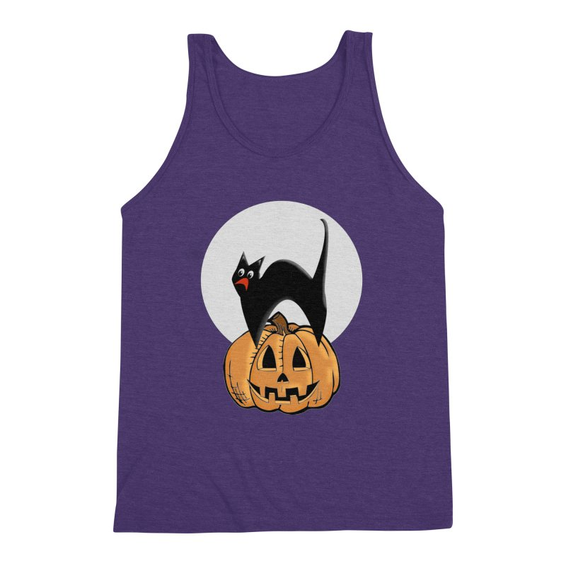 Halloween cat Men's Triblend Tank by Make a statement, laugh, enjoy.