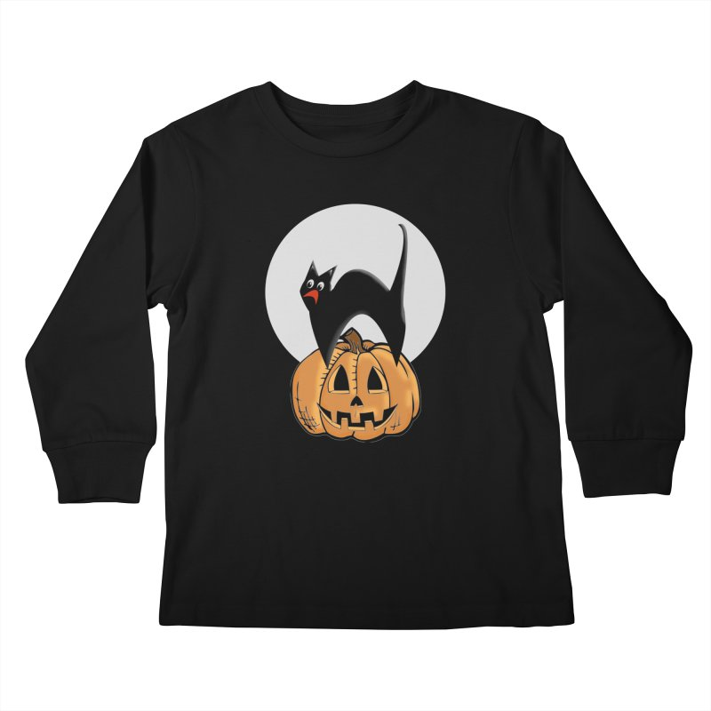 Halloween cat Kids Longsleeve T-Shirt by Make a statement, laugh, enjoy.