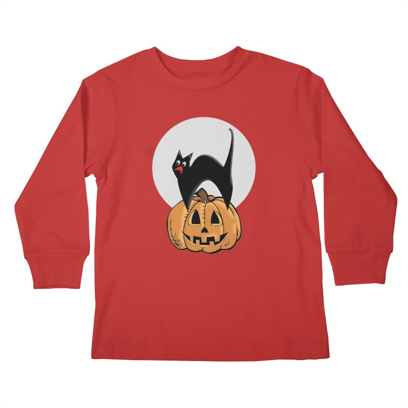 Halloween cat Kids Longsleeve T-Shirt by Sporkshirts's tshirt gamer movie and design shop.