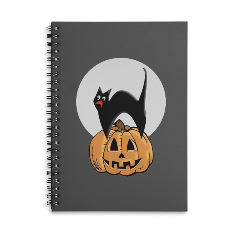 Halloween cat Accessories Lined Spiral Notebook by Make a statement, laugh, enjoy.