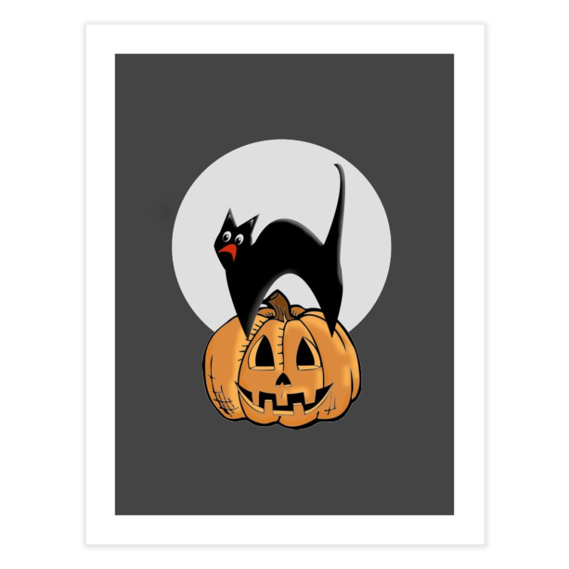 Halloween cat Home Fine Art Print by Sporkshirts's tshirt gamer movie and design shop.
