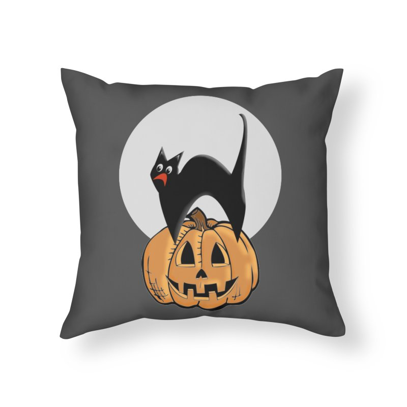 Halloween cat Home Throw Pillow by Sporkshirts's tshirt gamer movie and design shop.