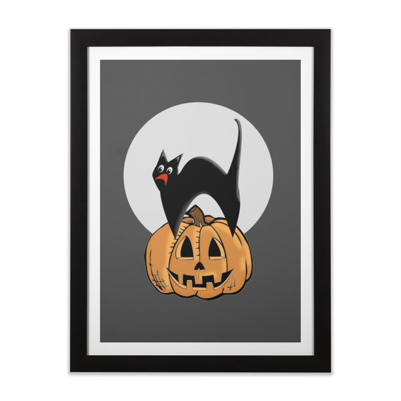 Halloween cat Home Framed Fine Art Print by Make a statement, laugh, enjoy.