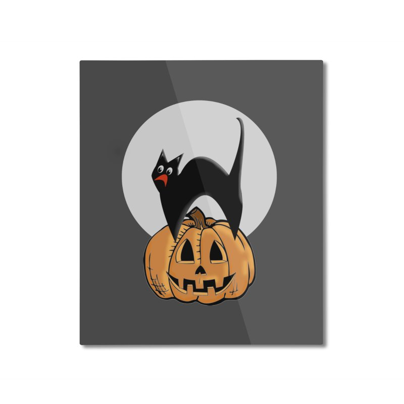 Halloween cat Home Mounted Aluminum Print by Sporkshirts's tshirt gamer movie and design shop.