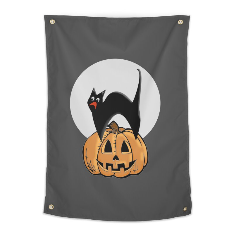 Halloween cat Home Tapestry by Make a statement, laugh, enjoy.