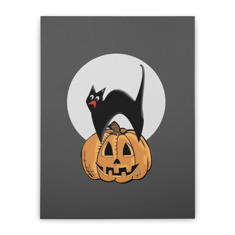 Halloween cat Home Stretched Canvas by Make a statement, laugh, enjoy.