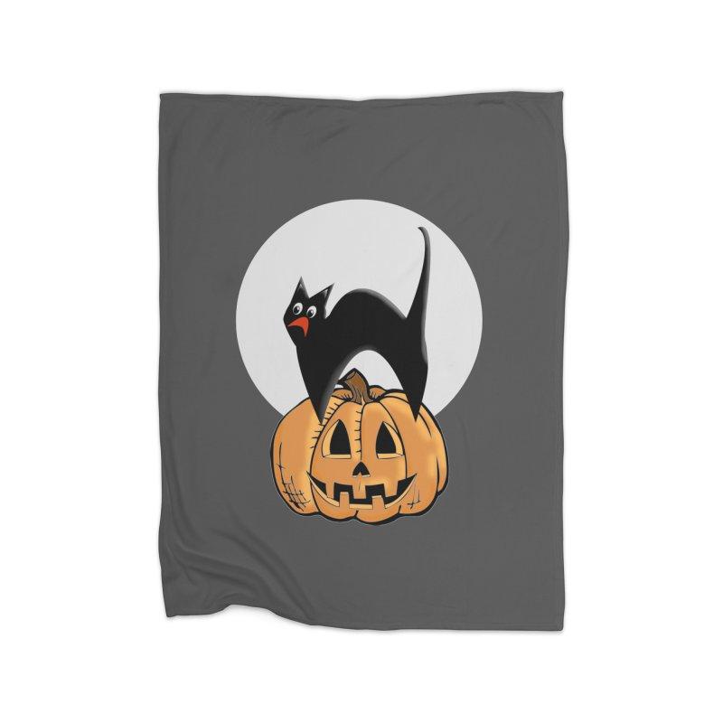 Halloween cat Home Fleece Blanket Blanket by Make a statement, laugh, enjoy.