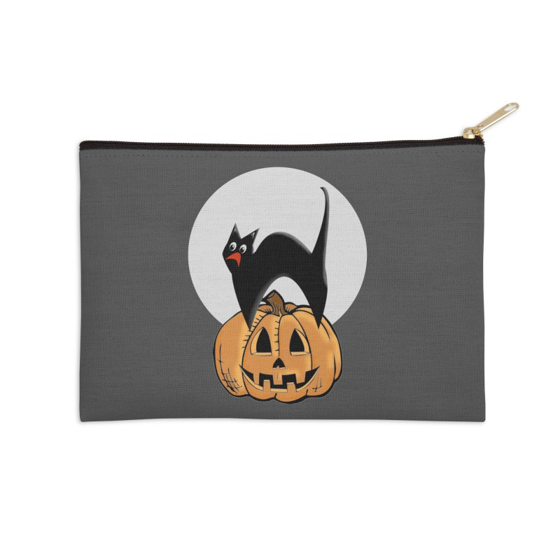 Halloween cat Accessories Zip Pouch by Sporkshirts's tshirt gamer movie and design shop.