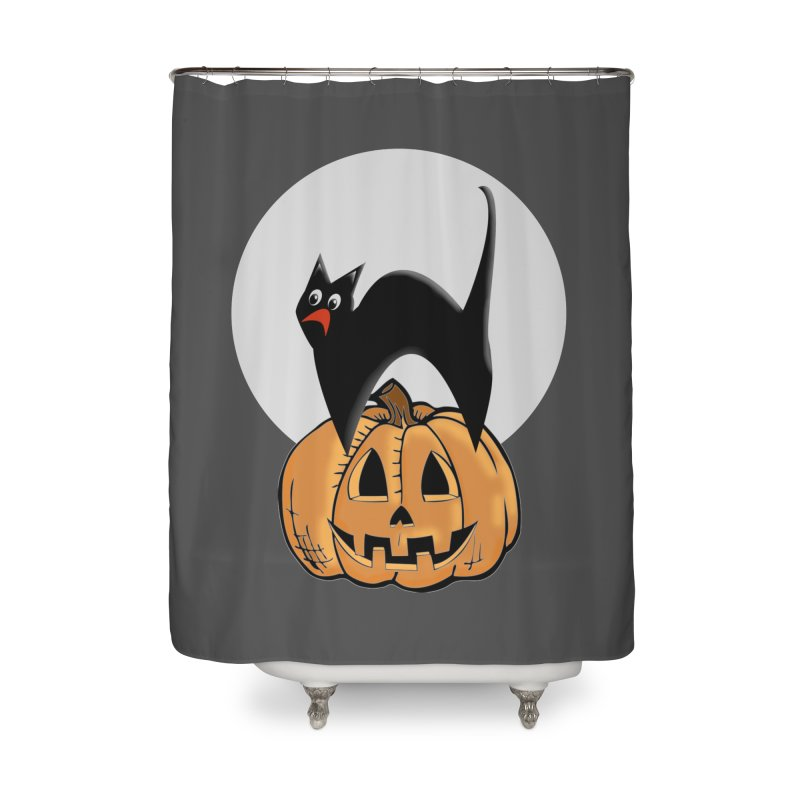 Halloween cat Home Shower Curtain by Make a statement, laugh, enjoy.