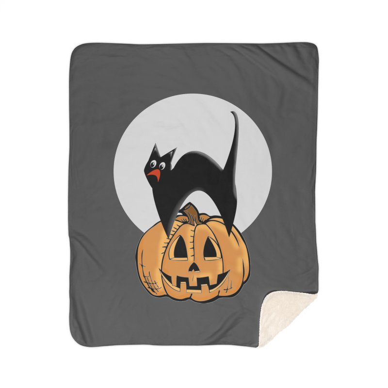 Halloween cat Home Sherpa Blanket Blanket by Make a statement, laugh, enjoy.