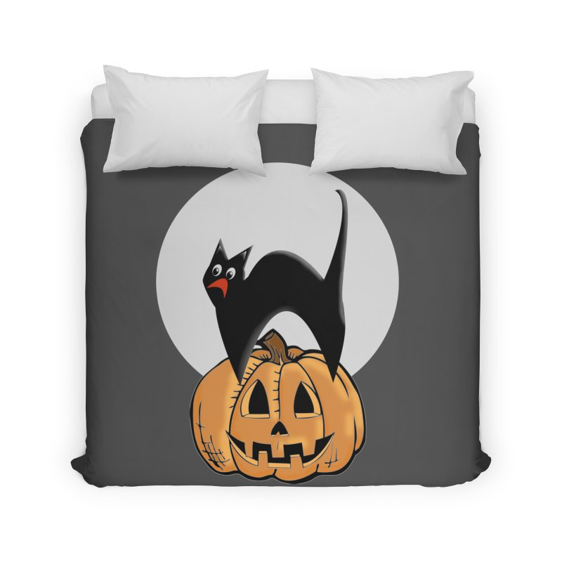 Halloween cat Home Duvet by Make a statement, laugh, enjoy.