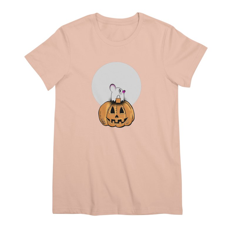 Halloween mouse in ghost costume. Women's Premium T-Shirt by Make a statement, laugh, enjoy.