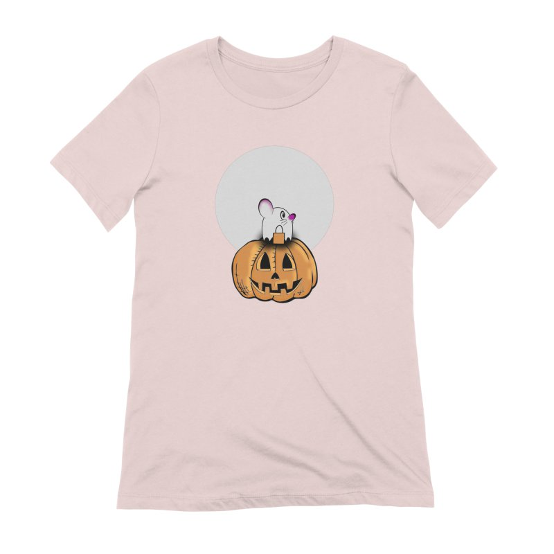 Halloween mouse in ghost costume. Women's Extra Soft T-Shirt by Make a statement, laugh, enjoy.