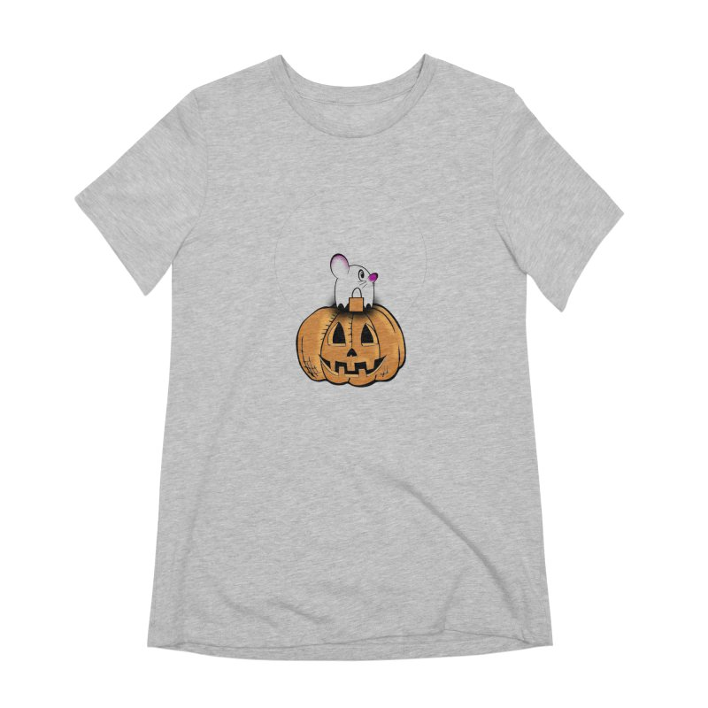 Halloween mouse in ghost costume. Women's Extra Soft T-Shirt by Sporkshirts's tshirt gamer movie and design shop.