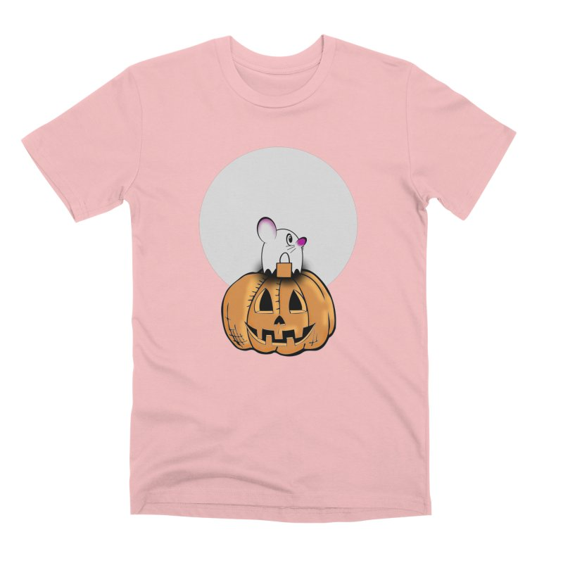 Halloween mouse in ghost costume. Men's Premium T-Shirt by Make a statement, laugh, enjoy.