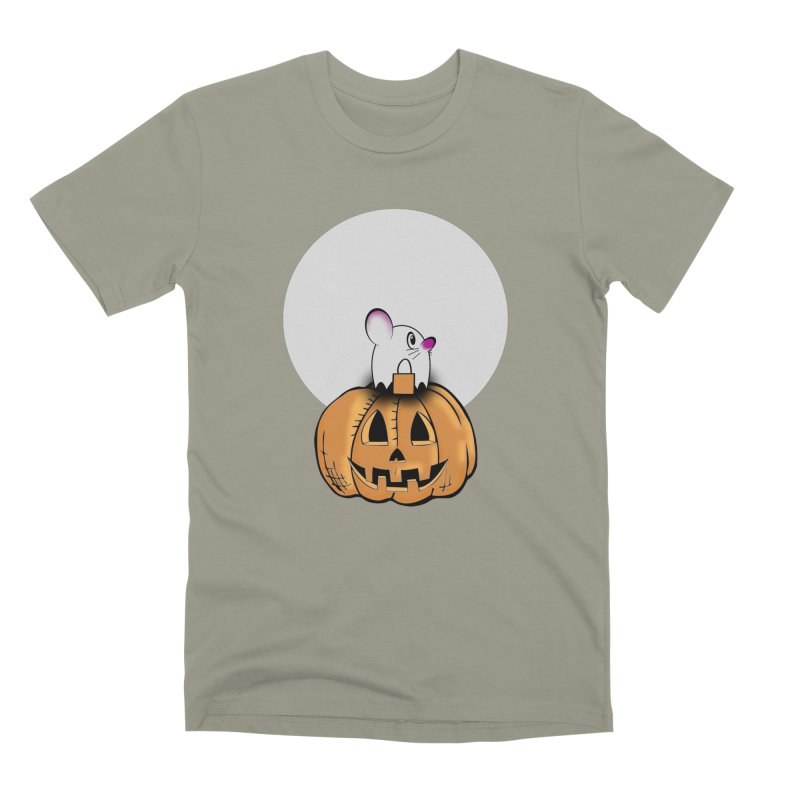 Halloween mouse in ghost costume. Men's Premium T-Shirt by Sporkshirts's tshirt gamer movie and design shop.