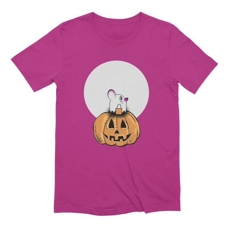 Halloween mouse in ghost costume. Men's Extra Soft T-Shirt by Sporkshirts's tshirt gamer movie and design shop.
