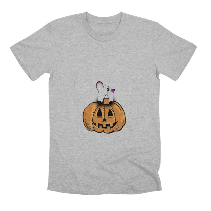Halloween mouse in ghost costume. Men's T-Shirt by Make a statement, laugh, enjoy.