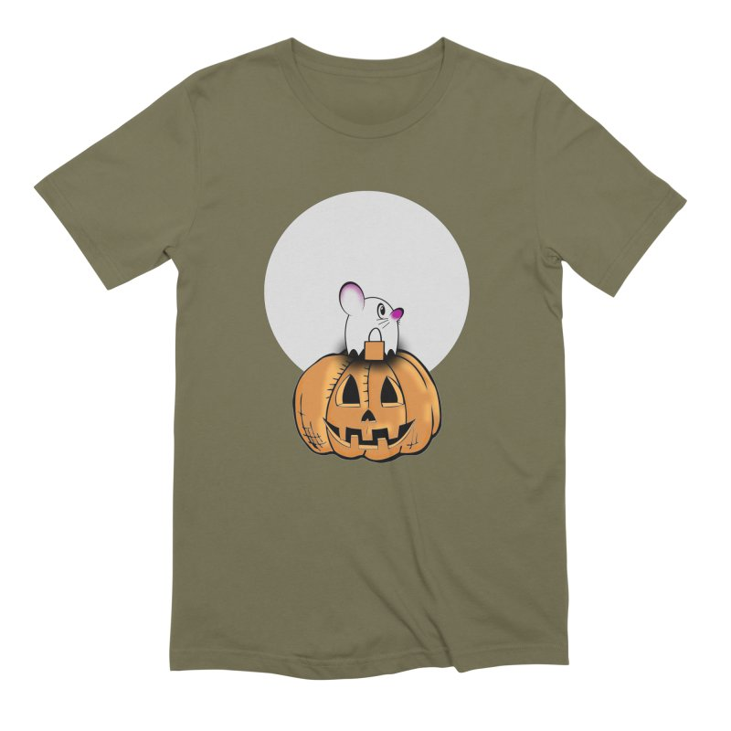 Halloween mouse in ghost costume. Men's Extra Soft T-Shirt by Make a statement, laugh, enjoy.