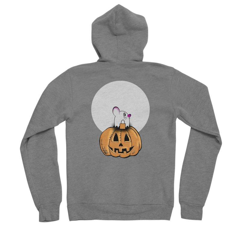 Halloween mouse in ghost costume. Men's Sponge Fleece Zip-Up Hoody by Make a statement, laugh, enjoy.
