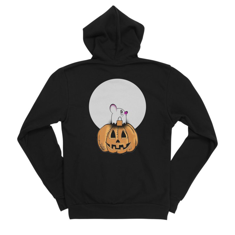 Halloween mouse in ghost costume. Women's Sponge Fleece Zip-Up Hoody by Make a statement, laugh, enjoy.