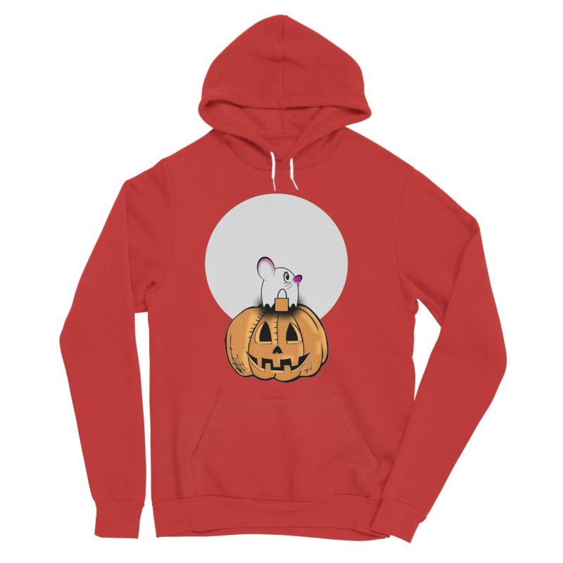 Halloween mouse in ghost costume. Men's Sponge Fleece Pullover Hoody by Make a statement, laugh, enjoy.