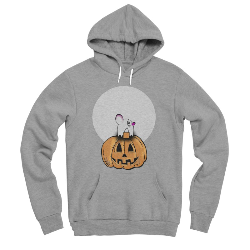 Halloween mouse in ghost costume. Women's Sponge Fleece Pullover Hoody by Sporkshirts's tshirt gamer movie and design shop.