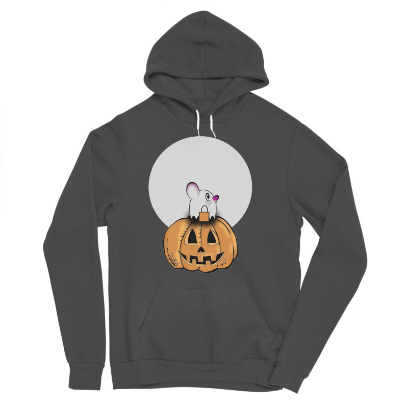Halloween mouse in ghost costume. Men's Sponge Fleece Pullover Hoody by Sporkshirts's tshirt gamer movie and design shop.
