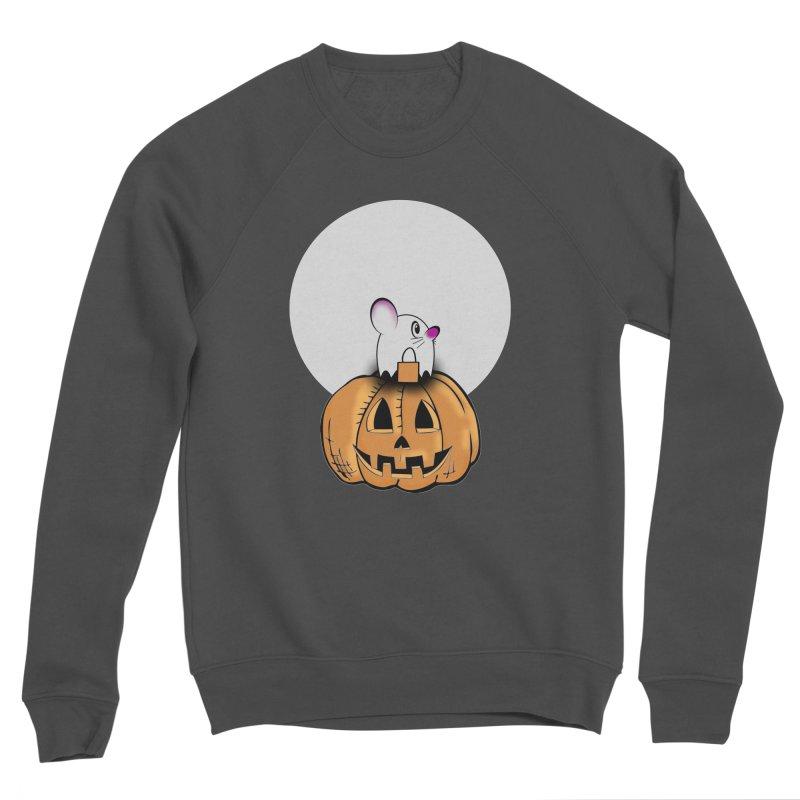 Halloween mouse in ghost costume. Women's Sponge Fleece Sweatshirt by Make a statement, laugh, enjoy.