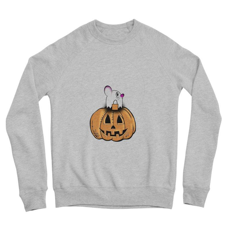 Halloween mouse in ghost costume. Men's Sponge Fleece Sweatshirt by Make a statement, laugh, enjoy.