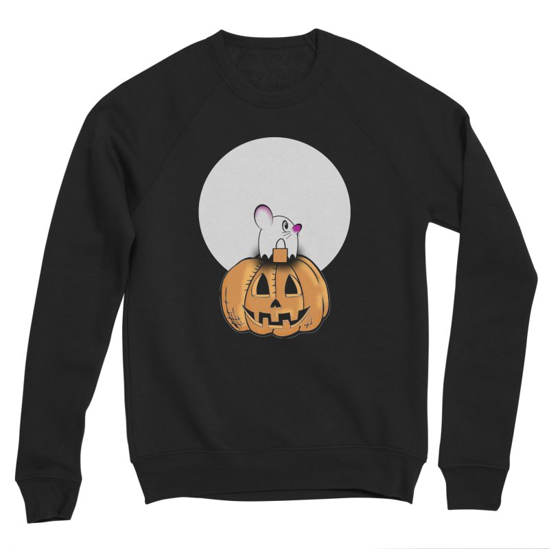 Halloween mouse in ghost costume. Women's Sponge Fleece Sweatshirt by Make a statement, laugh, enjoy.