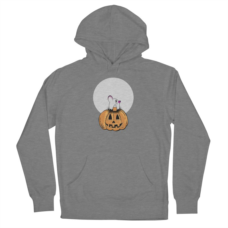 Halloween mouse in ghost costume. Women's Pullover Hoody by Make a statement, laugh, enjoy.